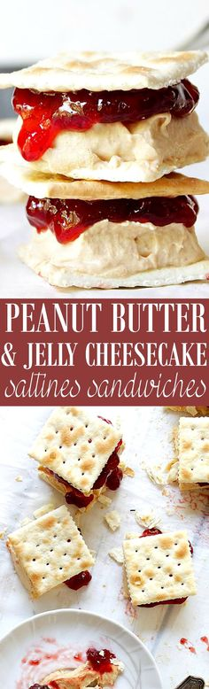 Saltines Peanut Butter and Jelly Cheesecake Sandwiches - Delicious Peanut Butter Cheesecake topped with Jelly and sandwiched in between Saltine crackers. SO, SOOOO GOOD!!