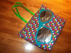 100% Duck Tape Beach Tote With Sunglasses Design on Front.