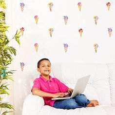 $22.94  - Funlife Ice Cream Waterproof DIY Wall Sticker Wall Picture for Children Room Decoration 6 sheetspack 30pcss ice cream ** To view further for this item, visit the image link. (This is an affiliate link) #WallStickersMurals
