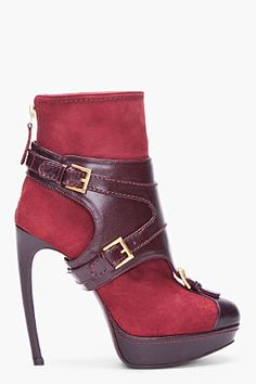 ALEXANDER MCQUEEN Oxblood Leather Buckle Boots |=