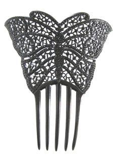 Antique Victorian Hair Comb Huge Black Openwork Butterfly w Black RS | eBay