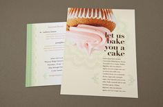 Decorative Bakery Postcard Template - A bakery could utilize this charming postcard as promotion of new featured flavors and baking services. The intermittent use of flourishes paired with the cupcake imagery and palette give this postcard a very friendly feel, appropriate for a shop selling baked goods.