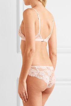 La Perla - Souple Leavers Lace And Stretch-cotton Jersey Briefs - Pastel pink - 1