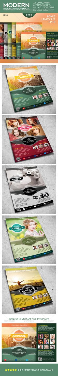 Modern Photography Business Flyer Template #GraphicRiver Modern Photography Business Flyer Template An elegant, professional, simple and ultra-clean layout for your Flyer. It's very easy to edit, all you need to do is just to change content and images. It's fully customizable. Features : 6 PSD files CMYK, 300DPI Fully Customizable A4 Size (30.3×21,6cm with 3mm bleed) 5 color themes Super easy to customize and editable logo Work organized in folders Included : Pdf_documentation BONUS!!! 1…
