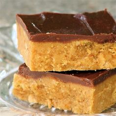 Peanut Butter Bars - SOOO easy and delicious. Tastes like a Reese's PB cup. Hardly any ingredients needed and takes little time to make. I use a food processor to grind my graham crackers but you can easily buy the box of crumbs that are available in baking aisle :)