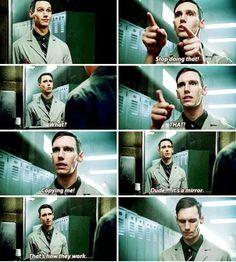 "it's a mirror. That's how they work"" - Ed Nygma >>> he looks so defeated on the last frame XD Gotham Show, Gotham Series, Gotham Tv, Gotham Bruce, Gotham Cast, Riddler Gotham, Gotham Villains, Batman Arkham, Im Batman"