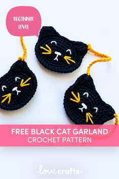 Get ready for Halloween with this spooky but super cute Black Cat Garland. This pattern is quick and easy and you can make as many motifs as you need to make a longer garland. | FREE downloadble pattern from LoveCrafts.com