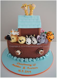 Noah's Ark 3D Christening Cake for a boy