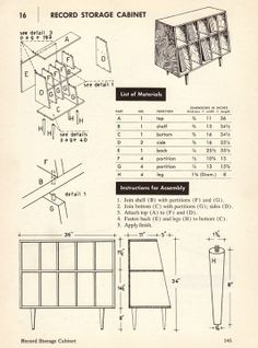Record Storage Cabinet: From How to Build Modern Furniture - Maria Dal Fabro, Record Rack, Record Shelf, Record Cabinet, Vinyl Record Storage, Lp Storage, Record Player, Diy Vinyl Storage, Record Stand, Storage Center