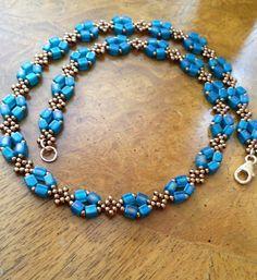 Bronze & turquoise beaded necklace beaded chain beadwoven necklace beadwork chain necklace seed bead necklace minimalist design EBW Team