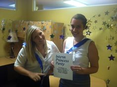 Lauren and Nichole celebrate @Lauren Berger and the Intern Queen party in their own office!