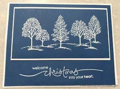 Try Cherry Cobbler, Vanilla, Gold embossing handmade Christmas card from In My Craft Room . navy paper with whtie embossed trees from Lovely as a Tree . luv the formal look . Stampin' Up! Homemade Christmas Cards, Christmas Cards To Make, Xmas Cards, Handmade Christmas, Homemade Cards, Holiday Cards, Stamped Christmas Cards, Elegant Christmas, Primitive Christmas