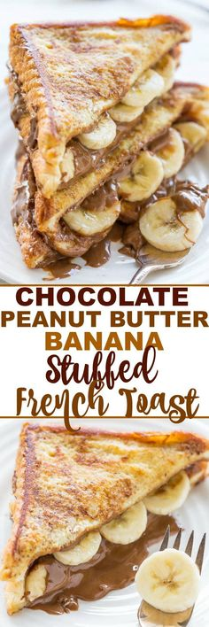 Chocolate Peanut Butter Banana Stuffed French Toast - A decadent twist on peanut butter and banana sandwiches!! Great for lazy weekend mornings or holiday brunches! Easy and the BEST French toast ever!!