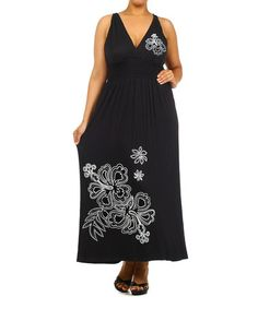 This Black Floral Surplice Maxi Dress - Plus by J-Mode USA Los Angeles is perfect! #zulilyfinds