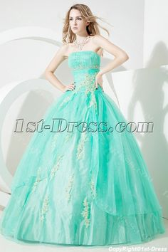 Green Glamorous Puffy Quinceanera Dress 2012:1st-dress.com