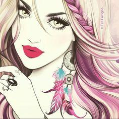 Tati Ferrigno illustration - Beauty will save Arte Pop, Art Sketches, Art Drawings, Poster S, Love Art, Female Art, Art Girl, Vincent Van Gogh, Fashion Art