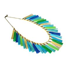 Leather Tassel Necklace, Tassel Garland Party Necklace, Blue, Green and Gold Statement Necklace, Fringe Statement Jewelry
