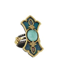 Y2G26 Armenta Multi-Band Scroll Ring with Green Turquoise/White Quartz Doublet, Diamonds, Sapphires & Opal