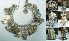 Amazing Mexico Charms Aztecs Maya Inca Vintage Silver Charm Bracelet | eBay