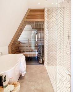 Attic Bathroom, Bathroom Spa, Small Bathroom, Master Bathroom, Bathroom Interior Design, Interior Decorating, Sauna Design, Sauna Room, Spa Rooms