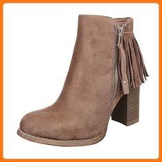 Damen Schuhe, C221, STIEFEL, FRANSEN BOOTS, Synthetik in hochwertiger Wildlederoptik , Hellbraun, Gr 38 (*Partner Link)