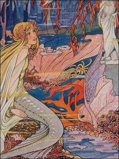 A vintage mermaid book illustration   by Rie Cramer. (Dutch)