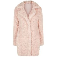 Parisian Shell Pink Faux Teddy Fur Coat (420 RON) ❤ liked on Polyvore featuring outerwear, coats, pink fur coat, pink coat, pink faux coat, fur coat and faux fur coat