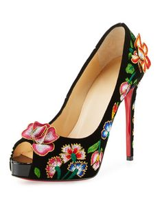 Folklo Embroidered Velvet Red Sole Pump, Black/Multi by Christian Louboutin at Neiman Marcus.