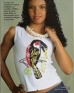 """sequins embroidery """"tucan""""- DIY cloth embellishment magazine"""