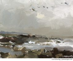 Seascape Pleinair California 2 Grey moment and Pelicans Flying - http://50seascapes.com/?p=974