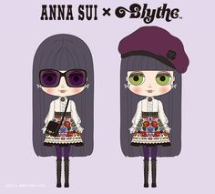 """collaboration Bryce of the first to meet Blythe as """"ANNA SUI (Anna Sui)""""! CWC Limited Edition Neo Blythe """"Bryce Adores Ana"""" illustrations announcement of. Anna Sui Fashion, Doll Museum, New Dolls, Hush Puppies, Character Outfits, Custom Dolls, Blythe Dolls, Paper Dolls, Whimsical"""