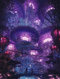 Space Fantasy, Fantasy City, Fantasy Places, Fantasy World, Fantasy Art Landscapes, Fantasy Landscape, Neon City, Science Fiction, Sci Fi City