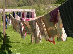 Love line drying.  Save money, save energy, get plenty of natural vitamin D, fresh air, let your children run around whil you're hanging things, sanitize clothes from the heat of the sun... Sigh.