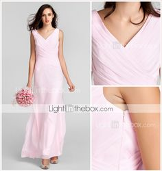 Vestido de Dama de Honra Comprido em Chifon com Decote em V e Topo Cruzado - BRL R$ 239,37