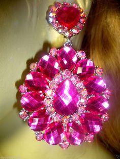 Pink fuchia crystal rhinestone chandelier clip bridal drag queen austrian crystal chandelier clip earring earrings rhinestone drag pageant 34 aloadofball Images