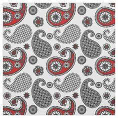 Pretty and modern paisley fabric - custom made from Zazzle. White background with black, grey and red paisley with flower accents fabric. Larger paisley than typical. Paisley Fabric, Red Fabric, Paisley Pattern, Grey And Red Living Room, Red Accents, Consumer Products, Custom Fabric, Crafts To Make, Printing On Fabric