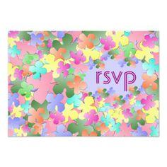 Pastel Flower Collage Custom RSVP Invitation