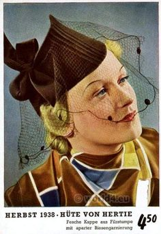 German girl headdresses 1940s. Vintage Fashion Germany 1938. women`s hat fashion art deco