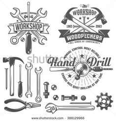 Vintage, retro emblem repair workshop and tool shop. Text on a separate layer - easy to replace. Cool Business Cards, Business Logo, Jm Logo, Logo Atelier, Logo Vintage, Retro Vintage, Vintage Style, Handyman Logo, Mechanical Workshop