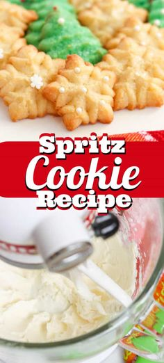 Spritz Cookies are a festive holiday tradition! With this fast, easy recipe and a cookie press, you'll be enjoying delicious cookies made with less sugar. Whipped Shortbread Cookies, Spritz Cookies, Buttery Cookies, Yummy Cookies, Cream Cheese Spritz Cookie Recipe, Biscuit Recipe, Holiday Cookie Recipes, Holiday Baking, Baking Recipes