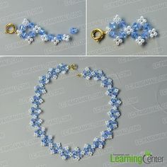 Pandahall Tutorial on How to Make Flower Glass Beads Necklace with Pearl Beads Beaded Necklace Patterns, Beaded Bracelets Tutorial, Beaded Earrings, Beads Tutorial, Pearl Beads Pattern, Bracelet Crafts, Jewelry Crafts, Handmade Jewelry, Beaded Crafts