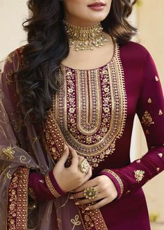 Shop salwar suits online for ladies from BIBA, W & more. Explore a range of anarkali, punjabi suits for party or for work. Neck Designs For Suits, Designs For Dresses, Dress Neck Designs, Designer Kurtis, Indian Designer Suits, Designer Salwar Suits, Designer Sarees, Embroidery Suits Punjabi, Embroidery Suits Design
