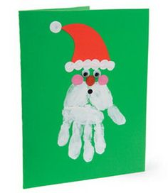Simple Christmas DIY Crafts for Kids - christmas handprint art – Bing Images - Christmas Card Crafts, Christmas Activities, Christmas Art, Christmas Projects, Craft Activities, Preschool Crafts, Holiday Crafts, Father Christmas, Simple Christmas