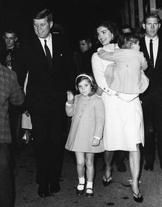 .The Kennedy family (l-r) John, Caroline, Jackie and John Jr.