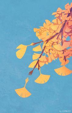 내 손을 놓지마(Don't let go of my hand) by 째찌 on Floral Illustration, Plant Illustration, Surreal Artwork, Sky Art, Autumn Art, Nature Paintings, Doodle Drawings, Illustrations Posters, Watercolor Art