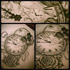 Pocketwatch tattoo, skull, rose, spider, tattoos, drawing, tattoo ideas