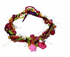 Make this Batik Fiber Necklace------I love this :)