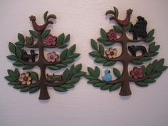 2 Vintage Homco Mid Century Modern Sweedish Folk Art Tree Of Life  Wall Plaque