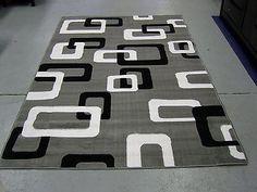 modern gray white black design 5x8 area rug carpet new - 5x8 Rugs