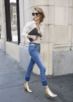 Fashiontrend: Dress up your basics with metallic accessories like these gold ankle boots and belt Fashion Mode, Moda Fashion, Minimal Fashion, Fashion Outfits, Womens Fashion, Minimal Chic, Blazer Fashion, Looks Street Style, Looks Style